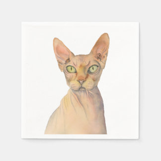 Sphynx Cat Watercolor Portrait Paper Napkin