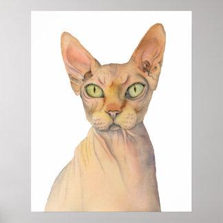 Sphynx Cat Watercolor Portrait Poster