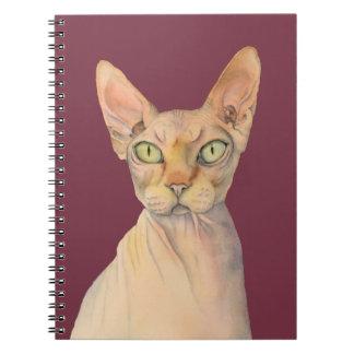 Sphynx Cat Watercolor Portrait Spiral Notebooks