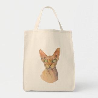 Sphynx Cat Watercolor Portrait Tote Bag