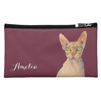 Sphynx Cat Watercolor Portrait with Name Cosmetics Bags