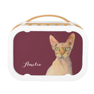 Sphynx Cat Watercolor Portrait with Name Lunch Box