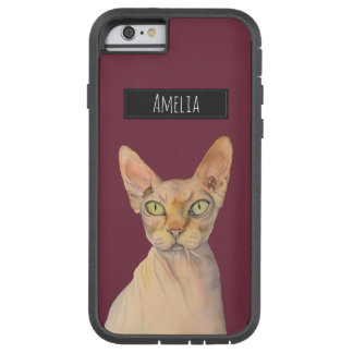 Sphynx Cat Watercolor Portrait with Name Tough Xtreme iPhone 6 Case