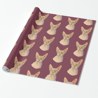 Sphynx Cat Watercolor Portrait Wrapping Paper