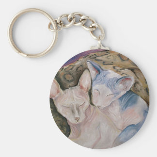 "Sphynx Hairless kitties Keychain ""The Couple"""
