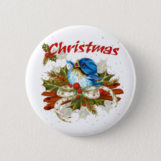 SPICE BIRD CHRISTMAS SMALL BUTTON 2¼ Inch