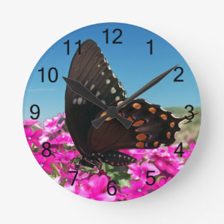Spicebush Swallowtail Butterfly Round Clock