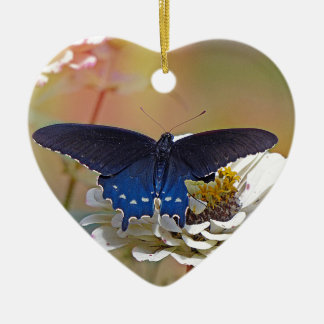 Spicebush Swallowtail Ceramic Heart Ornament