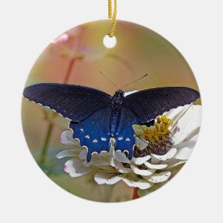 Spicebush Swallowtail Round Ceramic Ornament