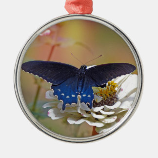Spicebush Swallowtail Silver-Colored Round Ornament