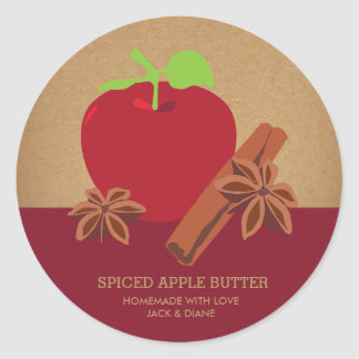 Spiced Apple Butter, Apple Cider, Gift Label Round Sticker