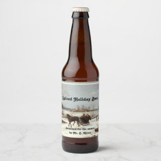 Spiced Holiday Brew with Classic Winter Scene Beer Bottle Label