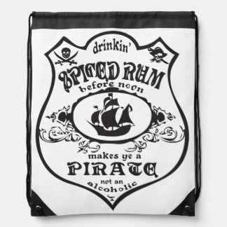 Spiced Rum Pirate Drawstring Bag