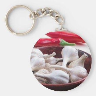 Spices for cooking closeup basic round button keychain