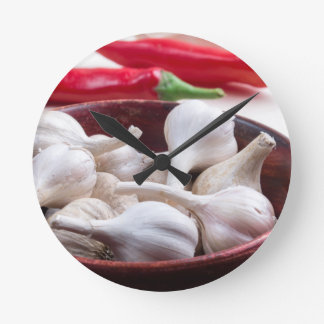 Spices for cooking closeup round clock