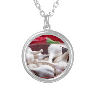 Spices for cooking closeup silver plated necklace