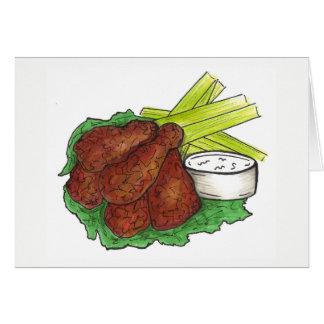 Spicy BBQ Buffalo Chicken Wings New York Bar Food Card