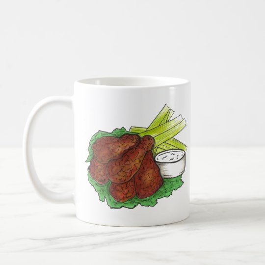 Spicy BBQ Buffalo Chicken Wings New York Bar Food Coffee Mug
