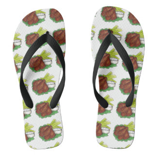 Spicy BBQ Buffalo New York Chicken Wings Foodie Flip Flops