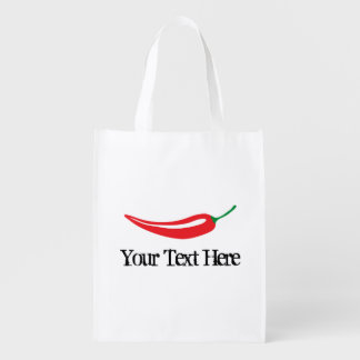 Spicy hot red chili pepper grocery shopping bag grocery bags