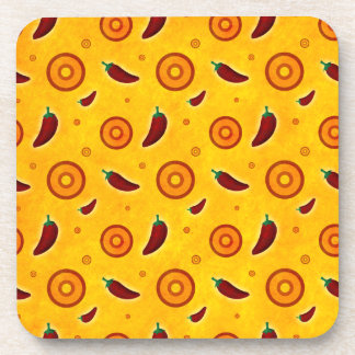 Spicy Hot Southwest Chili Pepper Pattern Drink Coasters