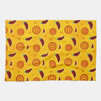 Spicy Hot Southwest Chili Pepper Pattern Hand Towels