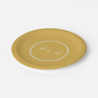 Spicy Mustard with White Wedding Detail 7 Inch Paper Plate