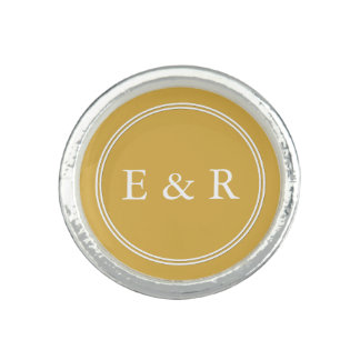 Spicy Mustard with White Wedding Detail Photo Ring