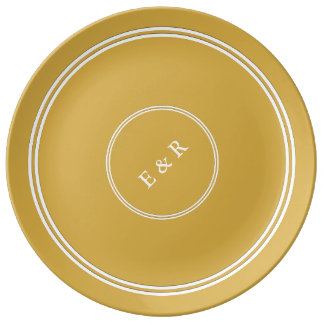 Spicy Mustard with White Wedding Detail Porcelain Plates