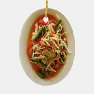 Spicy Papaya Salad [Som Tam] ... Thai Lao Food Ceramic Ornament