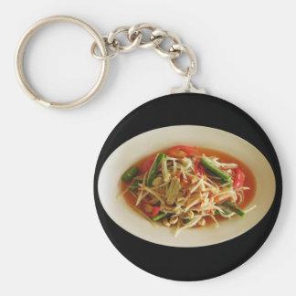Spicy Papaya Salad [Som Tam] Thai Street Food Basic Round Button Keychain