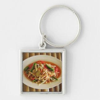 Spicy Papaya Salad [Som Tam] Thai Street Food Silver-Colored Square Keychain