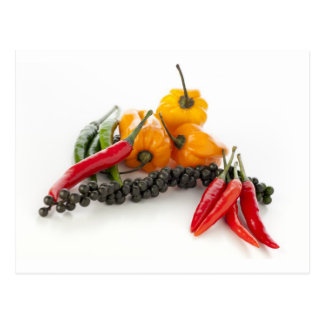Spicy Peppers on White Postcard