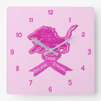 Spicy Pink Lion Ribbon Square Wall Clock