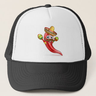 Spicy Red Pepper Mexican Cartoon Mascot Trucker Hat