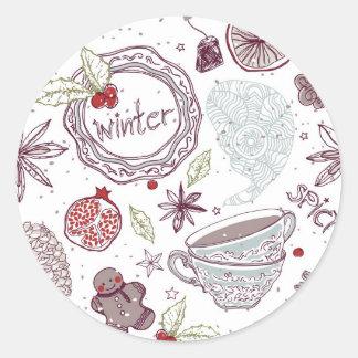 Spicy Winter Theme Pattern Classic Round Sticker