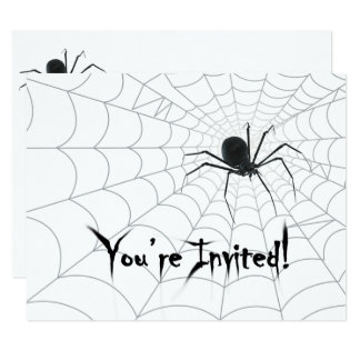Spider and Spiderweb Halloween Party Invitations |