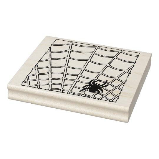 Spider and web illustration art stamp