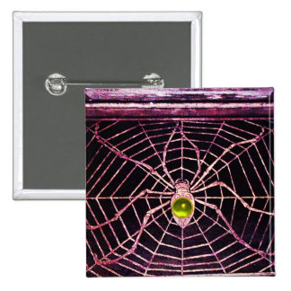 SPIDER AND WEB Yellow Topaz Black 2 Inch Square Button