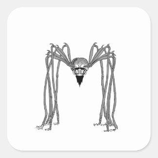 spider . black and white square sticker