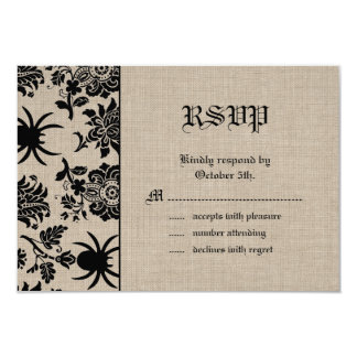 Spider Damask on Burlap RSVP Card