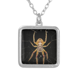 Spider design silver plated necklace