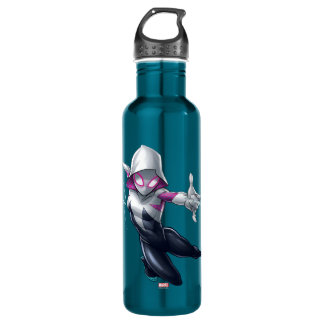 Spider-Gwen Web Slinging Through City 710 Ml Water Bottle