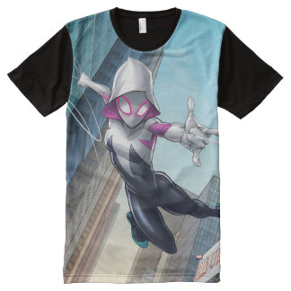 Spider-Gwen Web Slinging Through City All-Over-Print T-Shirt