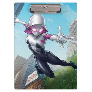 Spider-Gwen Web Slinging Through City Clipboard