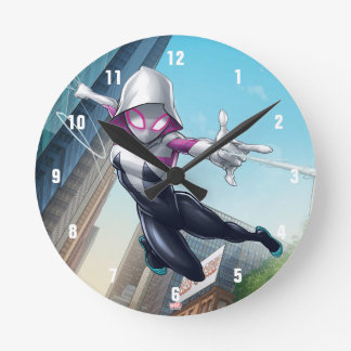Spider-Gwen Web Slinging Through City Clocks