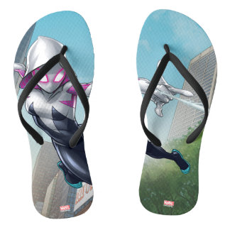 Spider-Gwen Web Slinging Through City Flip Flops