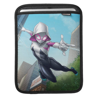 Spider-Gwen Web Slinging Through City iPad Sleeve