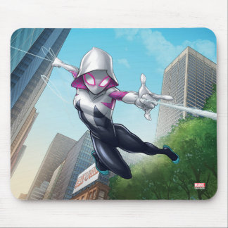 Spider-Gwen Web Slinging Through City Mouse Pad