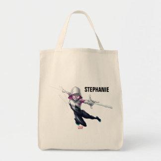 Spider-Gwen Web Slinging Through City Tote Bag